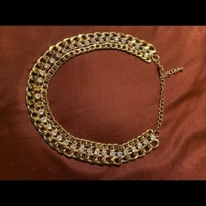 Costume jewelry, gold chain with diamonds